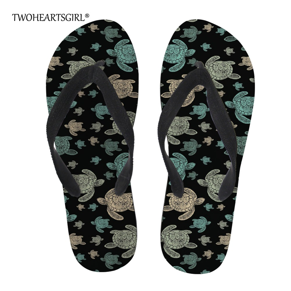 Just Twoheartsgirl Unique Sea Turtle Print Flip Flops For Women Soft Rubber Summer Beach Slippers Novelty Female Ladies Flipflops High Safety Shoes