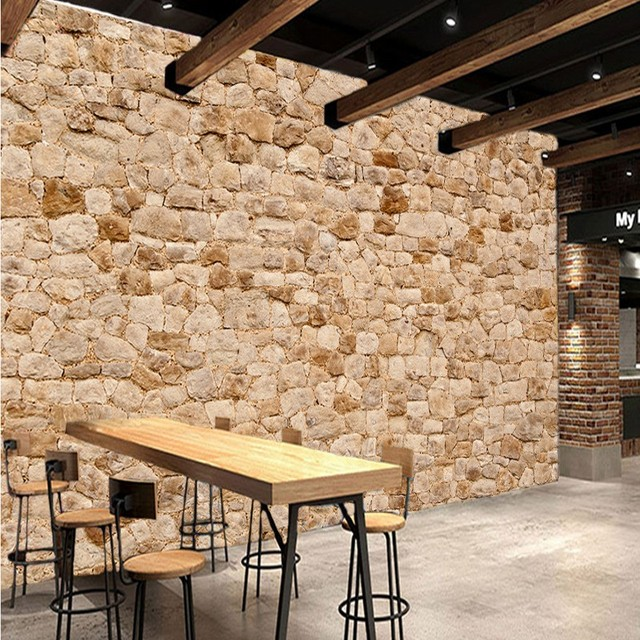 Photo Wallpaper European Fashion Bathroom Mural Tiles Brick Wall Artifacts Background Restaurant