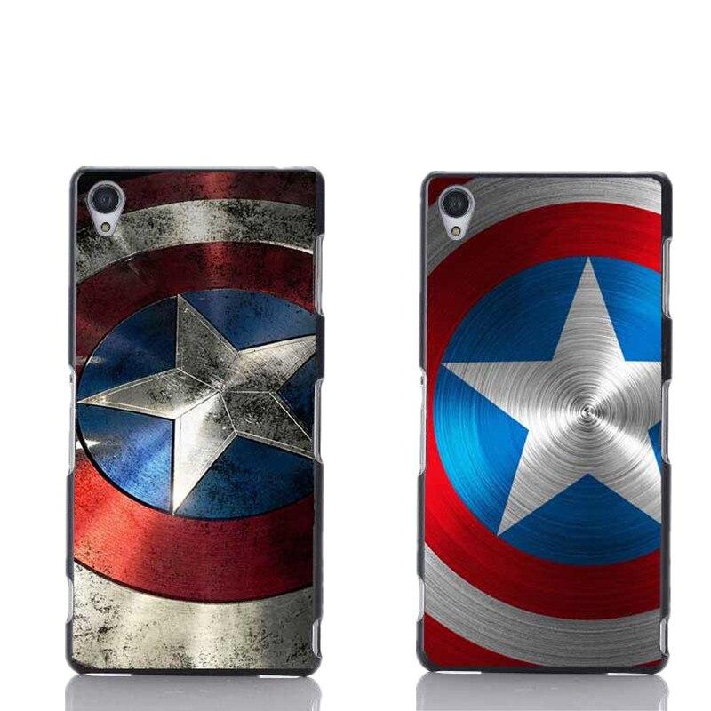 Marvel Capitão América Escudo Design Preto Tampa da Caixa de Plástico Para  Sony Ericsson Z1 Z2 Z3 Z4 Z5 Z3mini M2 T3 Frete grátis 4fea6ec05ee61