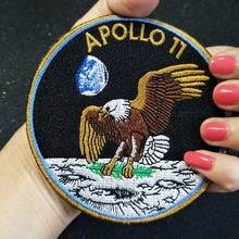 APOLLO 11 Iron On Patch Embroidered Applique Sewing Label punk biker Patches Clothes Stick