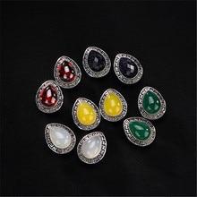 Jinwateryu Модные Зеленые красные желтые синие белые каменные украшения для женщин девушек 925 серебряные серьги