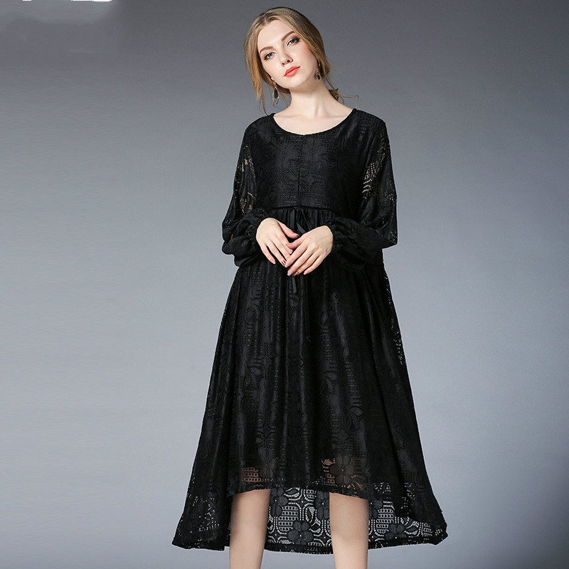 цена на 2018 Spring Europe And America Women Maternity Dresses Full Sleeve Black Pregnancy Clothes Fashion Lace Pregnant Clothing/Dress
