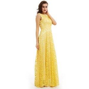 Image 3 - Dressv daffodil long evening dress cheap scoop neck appliques backless a line wedding party formal dress evening dresses