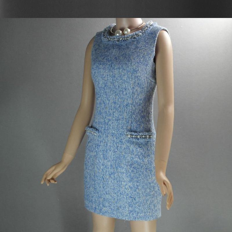 Robe Avancée Bleu 2019 Personnalisée Tweed Dames Femme De Hanche automne Pour Printemps Paquet Pu Laine Ciel Sans Perlée Manches WwnR4BW