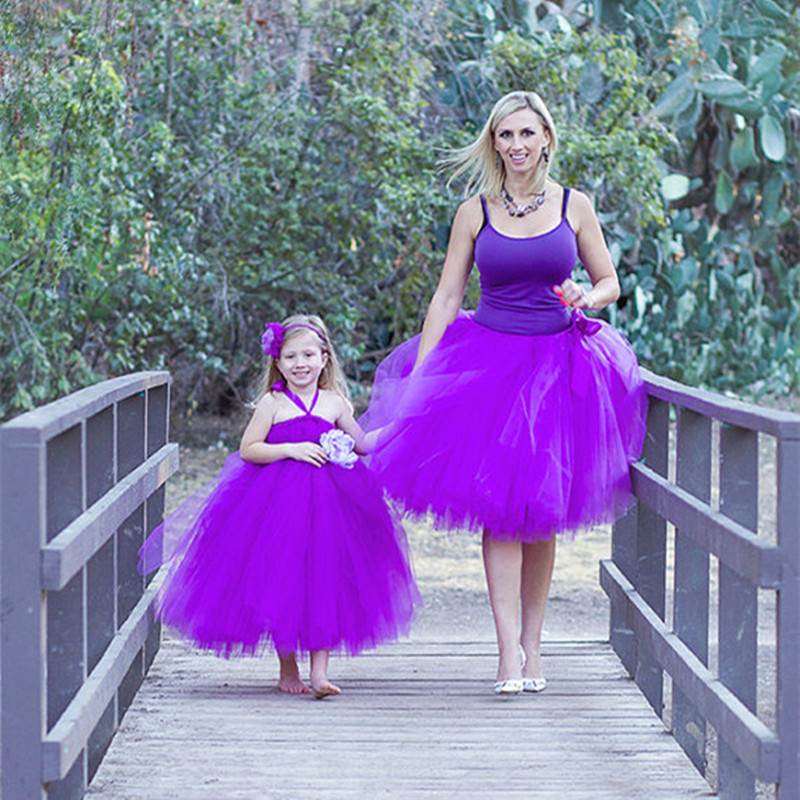 Matching Mother Daughter Dresses Clothes Family Fitted clothing Princess Party Tulle Tutu Dress Mom And Daughter Dress Outfits children clothing mother and daughter dress xl xxxl lady women infant kids mom girls dress with dancing rabbit beautiful skirt