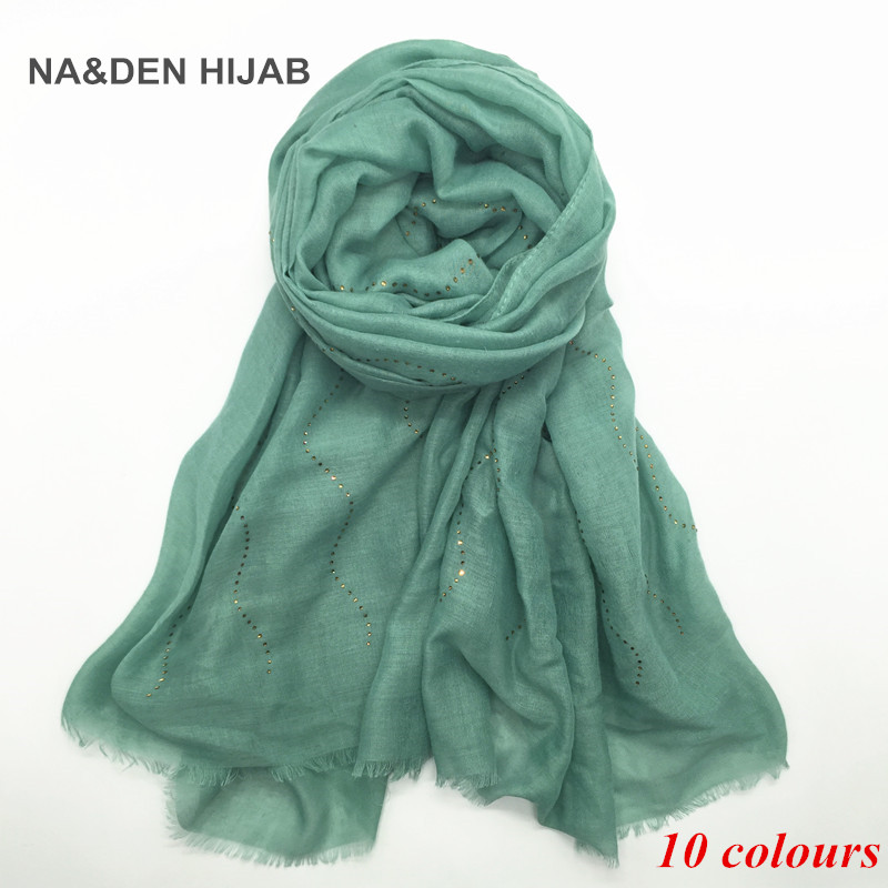 2020 NEW 10 Color Women Plain Maxi Scarf Rhinestone Scarves And Shawls Shimmer Muslim Hijab Headbands Foulard Fringe 1pc