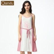 2016 Summer Femal Modal Lounge Sleepshirts Women Knitted Knee-length Homedress Soft Sleeveless Patchwork Nightgown