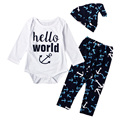 3 PCS Navy Blue & White Baby Boy Clothing Set One-piece Long Sleeve Bodysuits + Anchor Hat + Leggings Coming Home Outfits YM40TZ