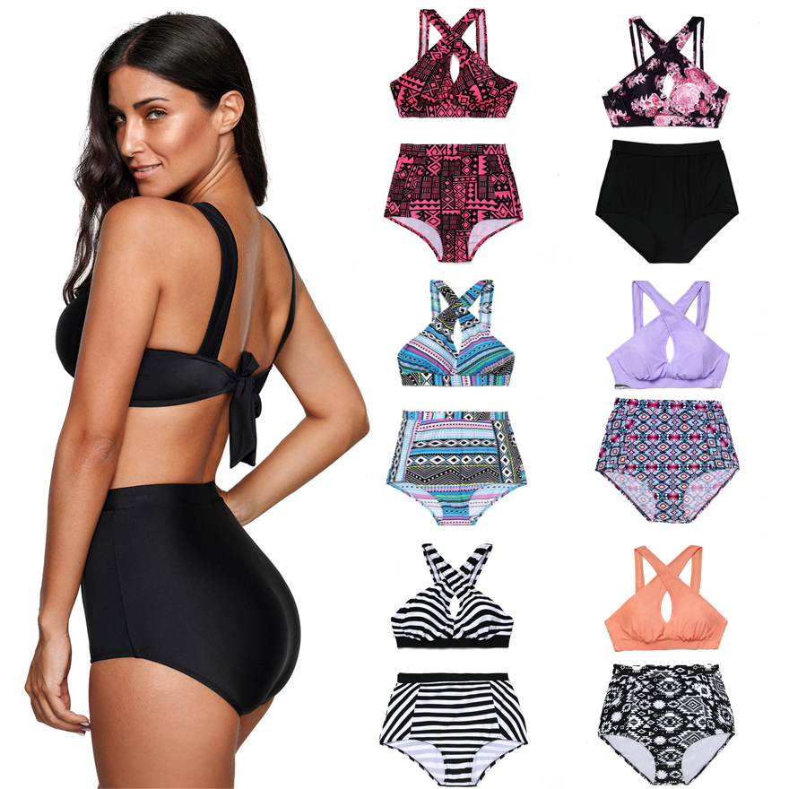HYCOOL Plus Size Swimwear Women Swimsuit 2018 New Bikinis High Waist Bathing Suits Print Retro Floral Bikini Set Swim Wear 5XL chinese style swimsuit large scalloped floral bikinis cover belly thin waist gather steel support small chest spa swimwear