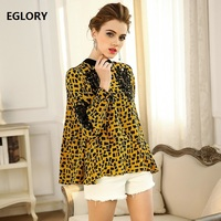 New Brand Plus Size Shirts 100 Silk Luxurious Women Sexy Wild Leopard Print Hollow Out Embroidery