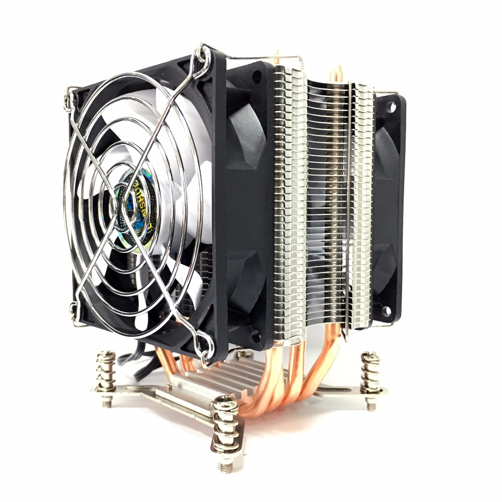LANSHUO HOT-CPU Silent Fan Cooler for Intel X79 LGA2011 processor 4 heat pipes Cooling CPU Radiator 2 Fan computer radiator blower cooler cooling fan for lenovo ideapad s410p s510p laptop cpu processor as replacement