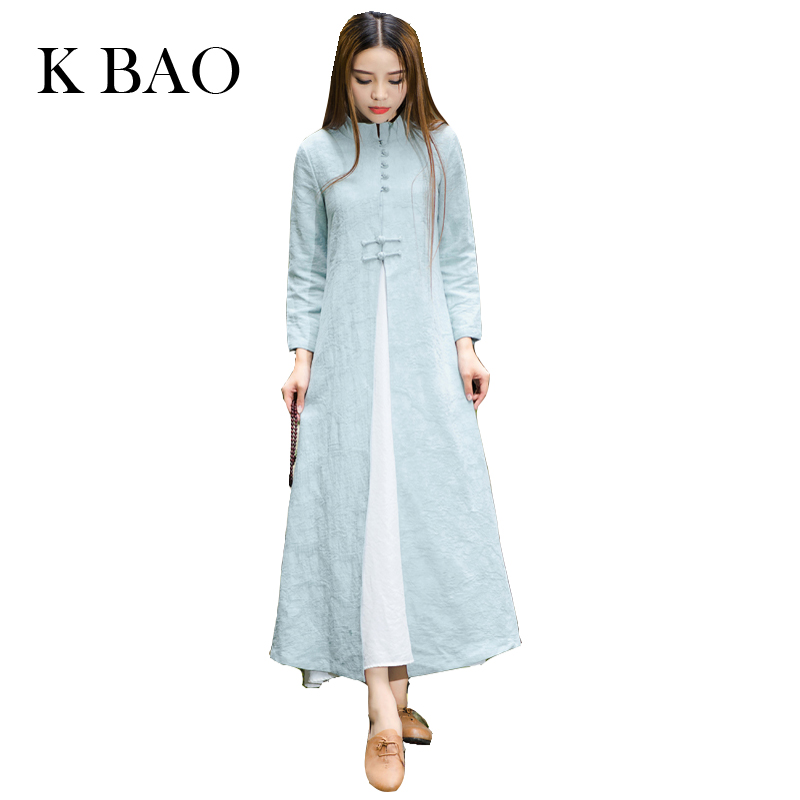 Spring Female Cotton Linen Dresses Long Floor Length Dress Traditional Chinese font b Clothing b font