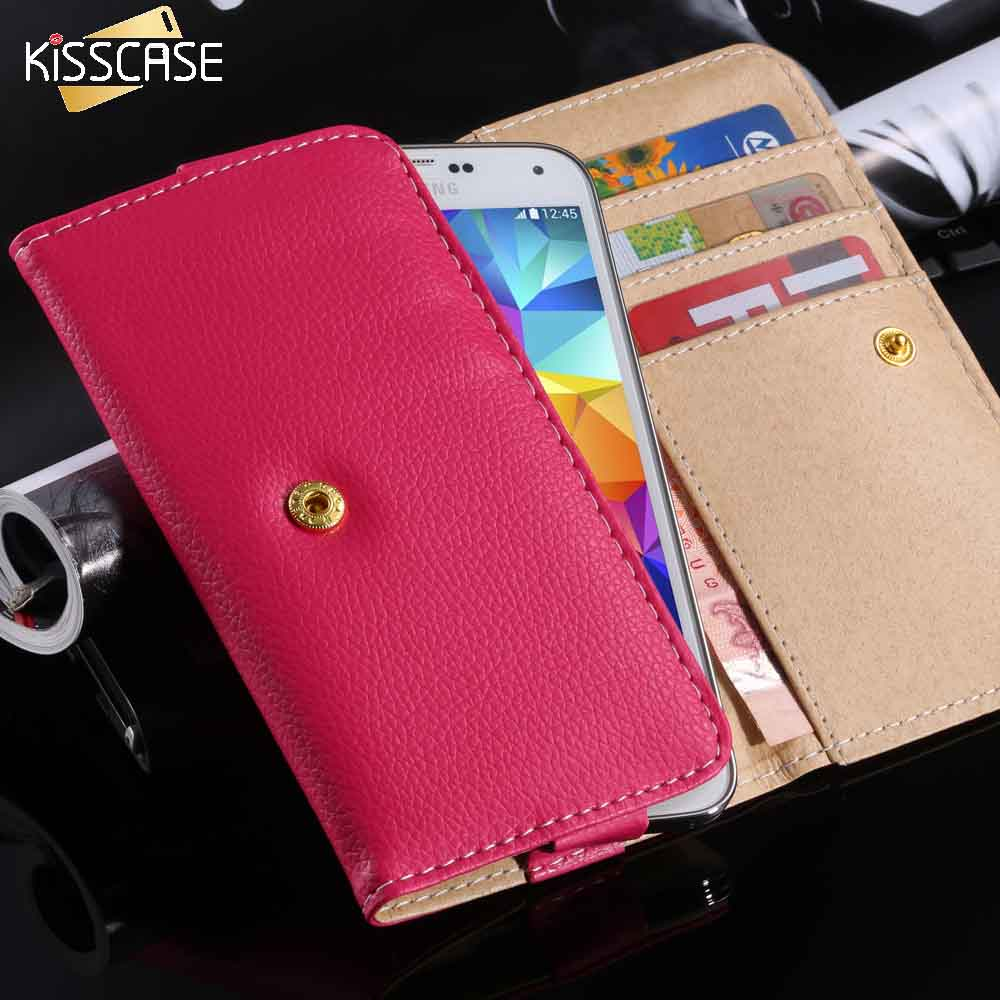 KISSCASE 5.0 Universal Phone Bag Wallet Case For iPhone 6 6S 7 5 5S SE 5 For Samsung Galaxy S5 S6 S7 Litchi Leather Skin Handbag