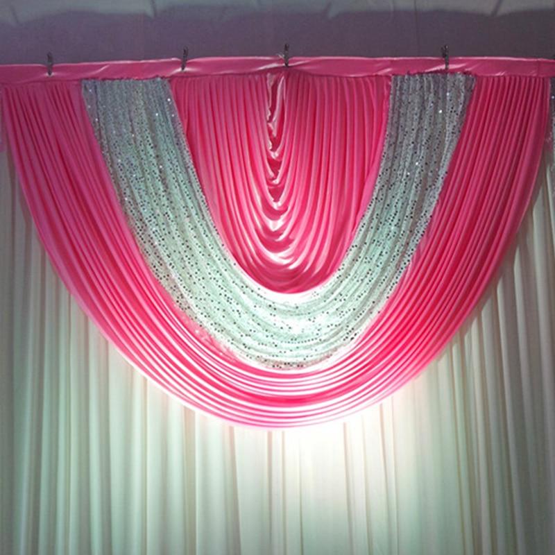 Plata lentejuelas rosa caliente telón de fondo de la boda swags - Para fiestas y celebraciones