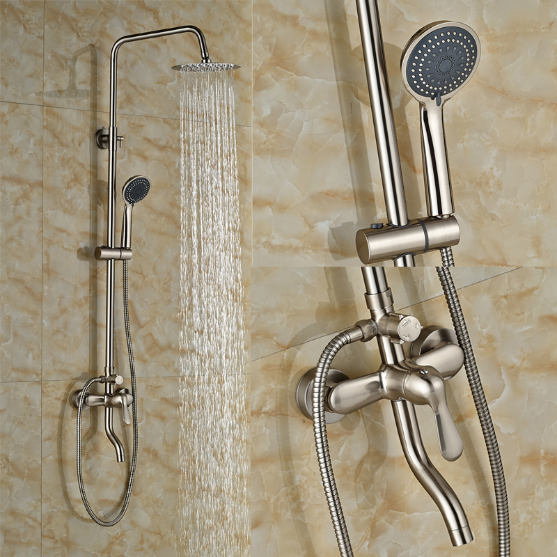 Contemporary Bathroom Tub Faucet 8 Shower Head + Hand Shower + 59 Shower Hose Nickel Brushed