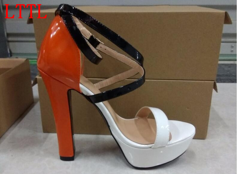 ФОТО New high heel designer platform lace-up sandals super high square heels open toe cross-tied ankle strap women shoes mixed colors