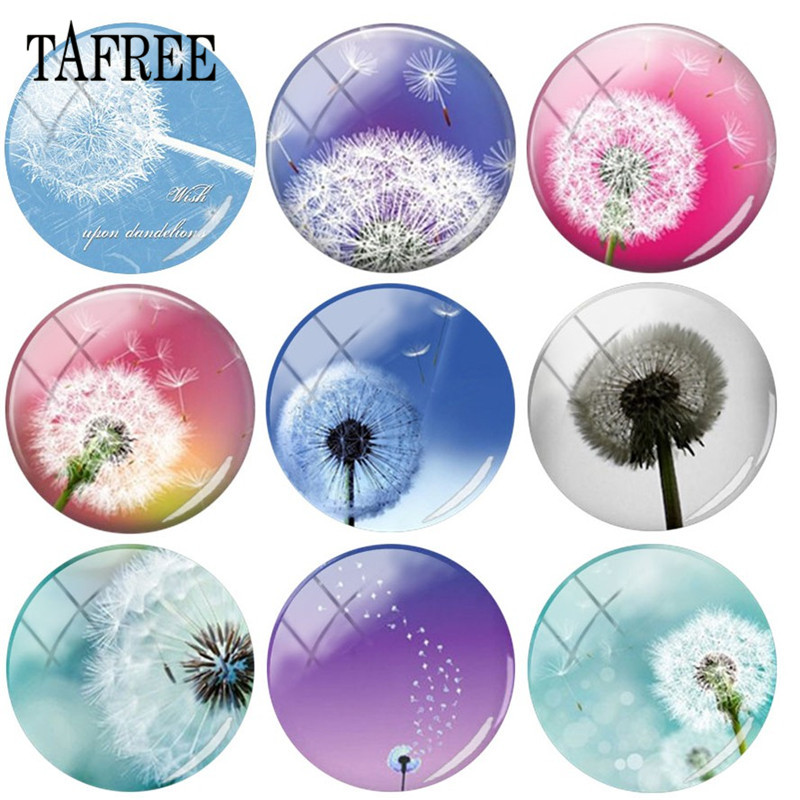 TAFREE Custom 25mm Glass Cabochon Dome With Dandelion Art Pictures Flatback Camo Jewelry Findings DIY Gift