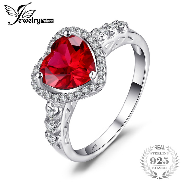 JewelryPalace Heart Of Ocean 2.7ct Created Red Ruby Love Forever Halo Promise Ri