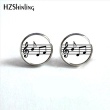 2017 New Arrival Music Notes Stud Earrings Handmade Glass Dome Round Jewelry Treble clef and Notes Earring Wholesale HZ4(China)