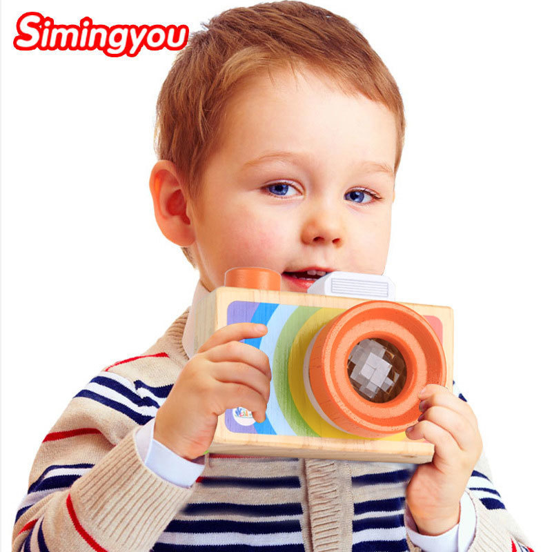 Simingyou Children Wooden Toys Camera Kaleidoscope Magic Education Baby Kids Montessori Learning Toy D10-A-245 Drop Shipping цена