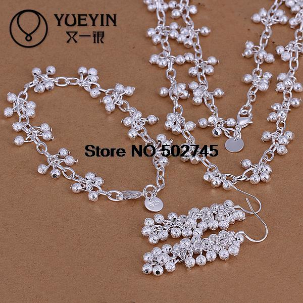 S128 Trendy Factory Price Top Quality Silver Plated & Stamped 925 Earring+bracelet+necklace Grape Pendant For Women&girl Party Cool In Summer And Warm In Winter Jewelry & Accessories