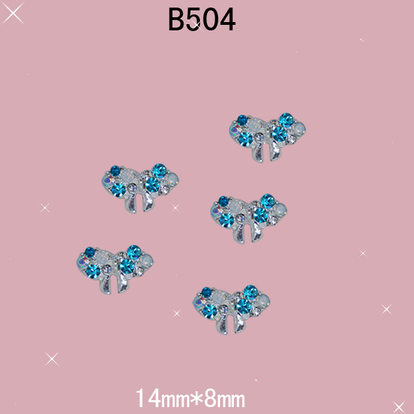 B504 14mm 8mm 10pcs 3D Blue Color Cute BowKnot Metal Alloy DIY Nail Art  Jewelry Beauty Rhinestones for Ladies Party Decoration e0a10d68aaf8