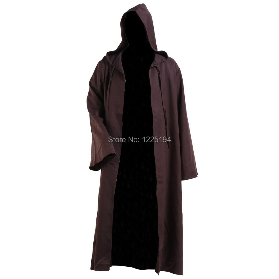 Star Wars Darth Revan Cosplay Costume Outfit Black Tunic Robe Brown Leather