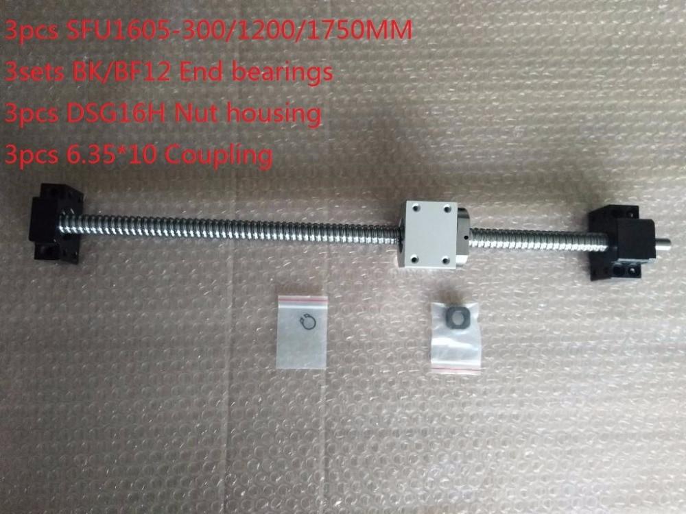 3pcs ball screw RM1605-300/1200/1750mm+3sets BK/BF12 end bearings+3pcs nut housing+3pcs coupler cnc цены онлайн