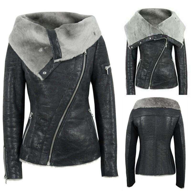 Black PU Faux   Leather   Jacket Women Lamb Fur Collar Jacket Coat Motorcycle Female Winter Warm Thick Outerwear For Lady Plus Size