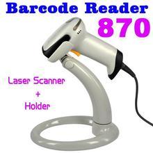 1 satz USB Bar Code Lange Scan Handheld Laser-barcode-scanner Reader 870 + halter Stehen für Automatische Kontinuierliche Scan USB RS232 PS2