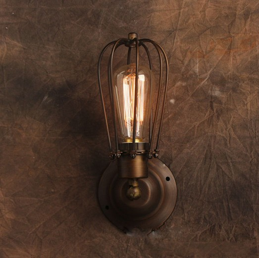 купить Vintage Wall Lamp American Style Industrial Iron Hardware Case Edison Lamps Art Deco Loft Lighting For Coffee Kitchen Bar дешево