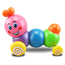 1Pc New Kids Child Wood Toys Colorful Caterpillar Wind up Toys Baby Children Developmental Educational Toys