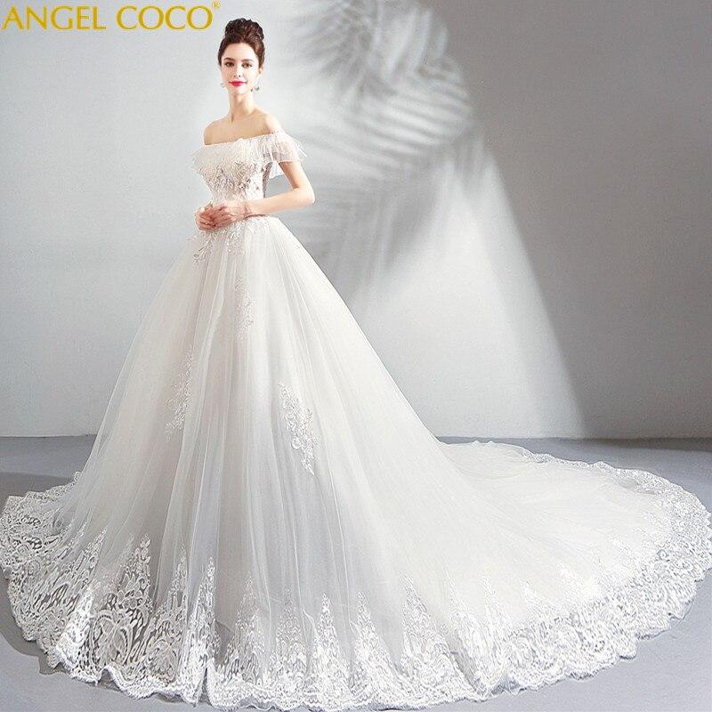 7da4f54793d French Maternity Dresses Girl Dreamy Petal Yarn Pregnant Bride Word  Shoulder Big Tailing Wedding Dress Robes
