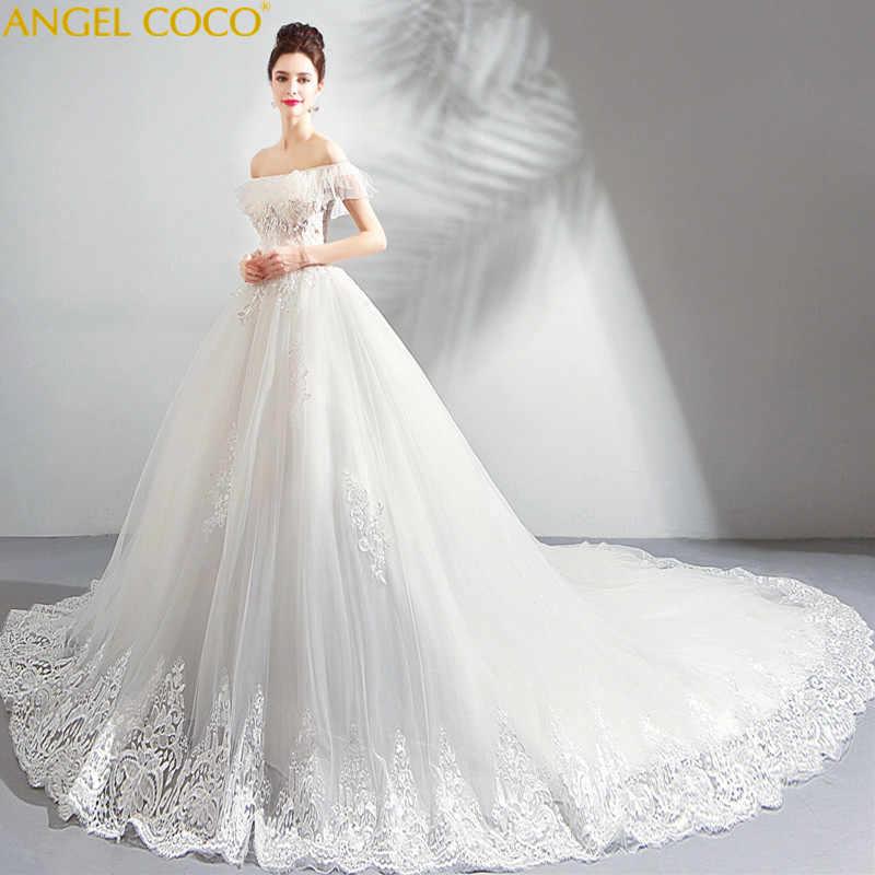 8551dc46e6a French Maternity Dresses Girl Dreamy Petal Yarn Pregnant Bride Word  Shoulder Big Tailing Wedding Dress Robes