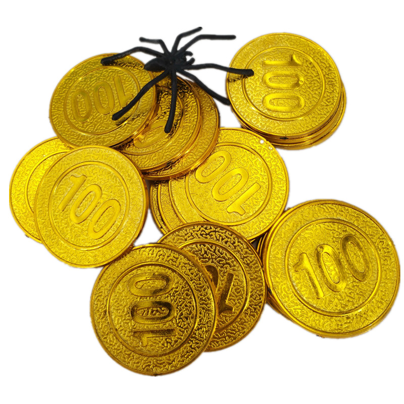 12 x PIRATE PLASTIC TOY GOLD COINS BOYS GIRLS PARTY LOOT BAGS FILLER