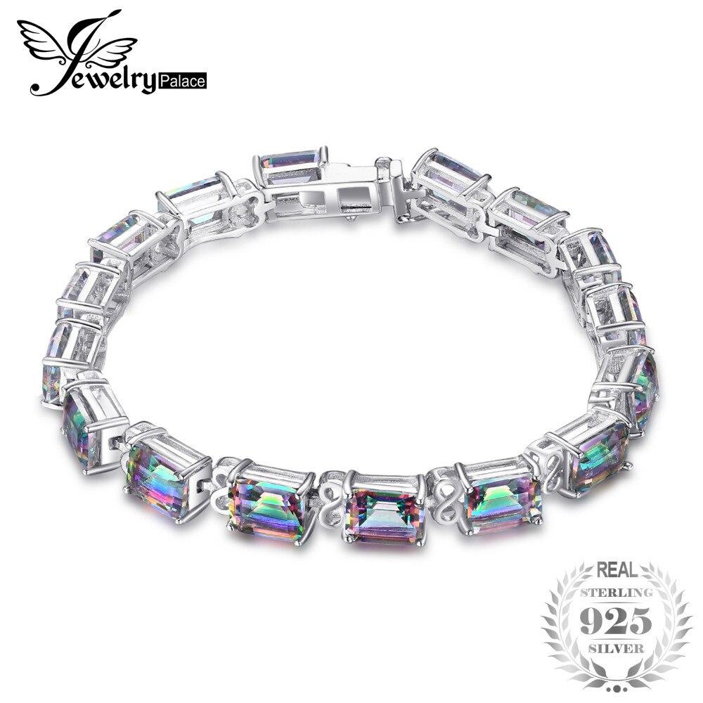 Jewelrypalace 28ct natural fuego Rainbow Mystic Topaz pulsera Tenis para el regalo de las mujeres amor puro 925 Joyería fina