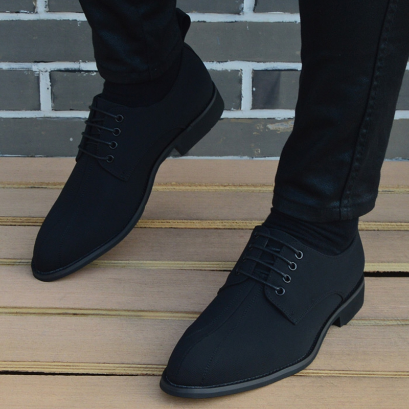 Canvas Shoes for Men Popular Men 39 s Lace up Casual Pointed Trendy Leather Shoes Fashion Business Shoes Oxford Shoes Form Men in Oxfords from Shoes