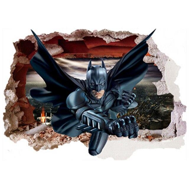 Super Hero Batman Kirik Duvar 3d Sanat Yaratici Cikartmalari Avengers Anime Posteri Cocuk Odasi Dekorasyon Karikatur