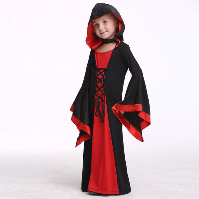Kids Halloween Hood Dress Girls Witch Costume Wizard Sorceress Robe Child Halloween Cosplay Costume Medieval Black  sc 1 st  AliExpress.com & Kids Halloween Hood Dress Girls Witch Costume Wizard Sorceress Robe ...