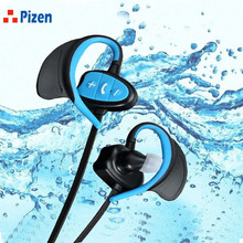 Cheapest PIZEN IPX8 802 earphone Wireless CSR Bluetooth Headset Waterproof Sport Headphones Noise Cancelling Running Earbuds for iphone