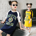 New 2017 Kids Spring Long Style Shirt Girls Casual Shirt Chioldren Loose Long Sleeve Shirt Toddler Letters Dress,4-14Y
