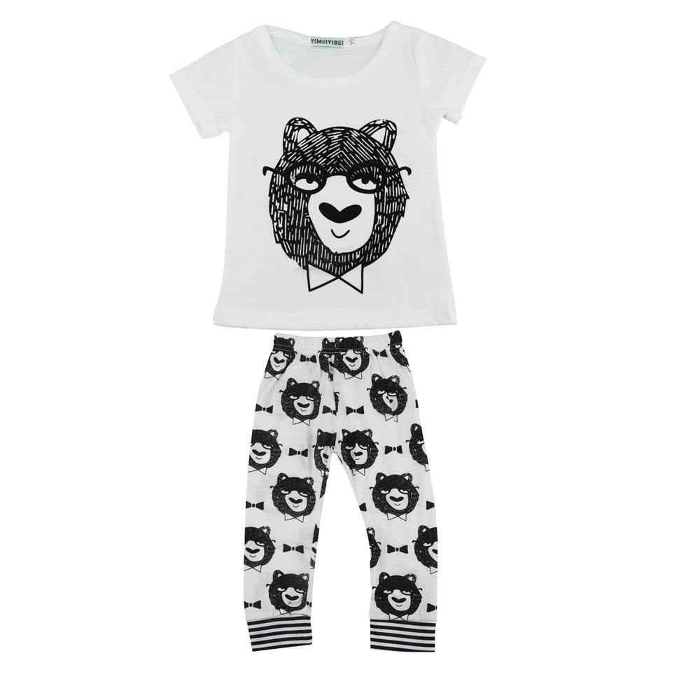Фланелевые пижамы с длинными рукавами; хлопковые пижамы для мальчиков с животными; Мужская зимняя ночная рубашка; топы; CJ; Прямая - Цвет: Белый