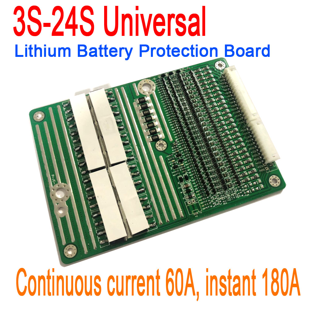 3S-24S 60A 18650 Lithium Li-ion Battery Protection Board instant 180A w/ Balance 4S 5S 6S 7S 10S 12S 13S 14S 16S 20S 21S 22S 23S3S-24S 60A 18650 Lithium Li-ion Battery Protection Board instant 180A w/ Balance 4S 5S 6S 7S 10S 12S 13S 14S 16S 20S 21S 22S 23S