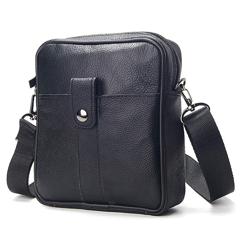 New Fashion Cow Leather Black Messenger Bags For Men Hasp Zipper Design Mens Business Genuine Leather Single Shoulder Bag New Fashion Cow Leather Black Messenger Bags For Men Hasp Zipper Design Mens Business Genuine Leather Single Shoulder Bag
