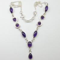 SOLID SILVER Purple Amethysts Handmade Necklace 17.7 ! JEWELRY