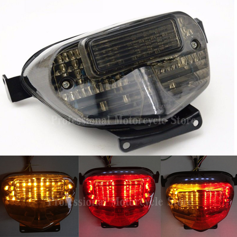 LED Brake Tail Lights with Integrated Turn Signals Indicators Smoke Motorcycle  For Suzuki GSXR 750 2000-2003 aftermarket free shipping motorcycle parts led tail brake light turn signals for 2004 2009 yamaha fz6 fazer 600 smoke