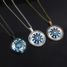 Marvel Avengers 4 Iron Man Necklace Tony Stark Arc Reactor Glass Cabochon Pendant Link Chain Women Men Choker Jewelry