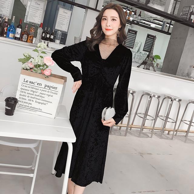 2018 New Spring Women Long dress Lantern Sleeve Patchwork Mesh Turtleneck Cellchok Half Velvet Dresses Black 8521