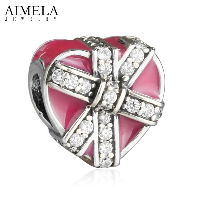 AIMELA 2017 Valentine's Day Gifts of Love Heart Beads 925 Sterling Silver Magenta Enamel Ribbon Hearts Charms For Jewelry Making