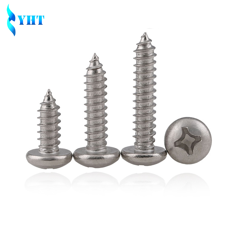 DIN7981 M2.2 M3 M3.5 M4 M4.2 M4.8 GB845 304 Stainless Steel Cross Recessed Pan Head Screws Phillips Self-tapping Wood Screws stainless steel sems screws m3x8 pan head 1 phillips driver polished rohs